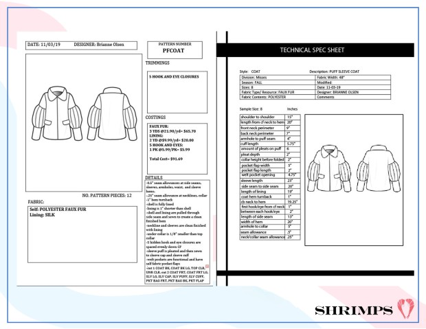 coat spec sheets