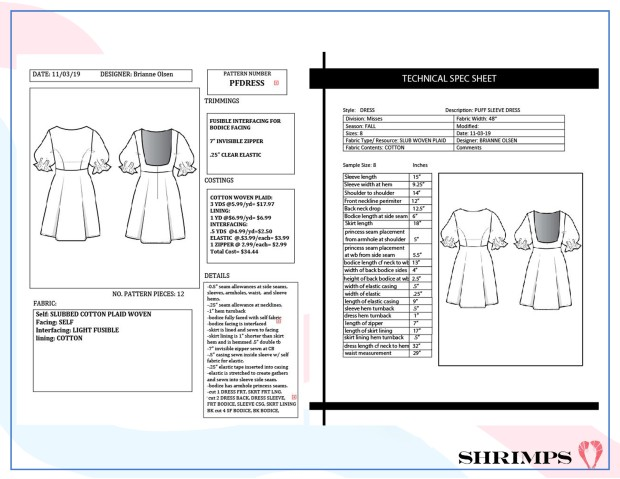 dress spec sheets